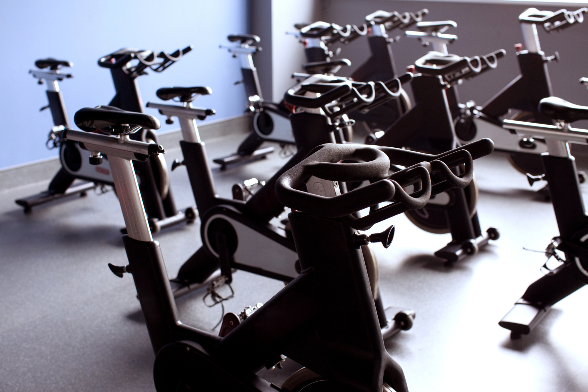 Exercise spin bikes at the gym