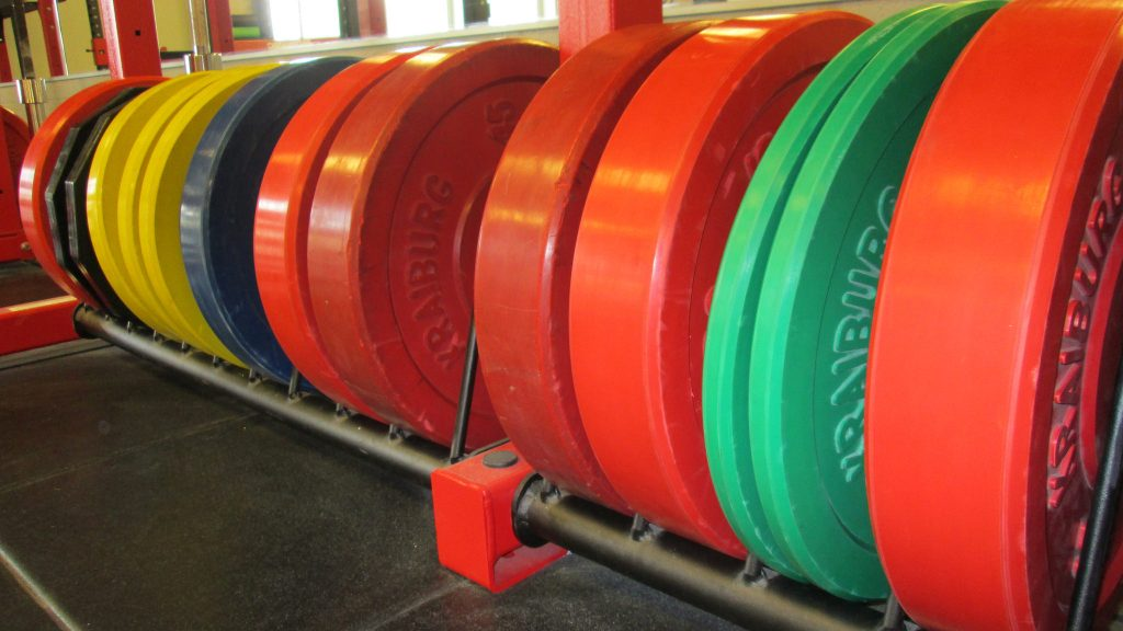 Bumper weight plates close up