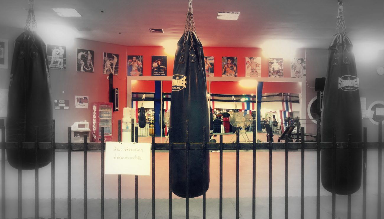 Heaving bags at boxing gym