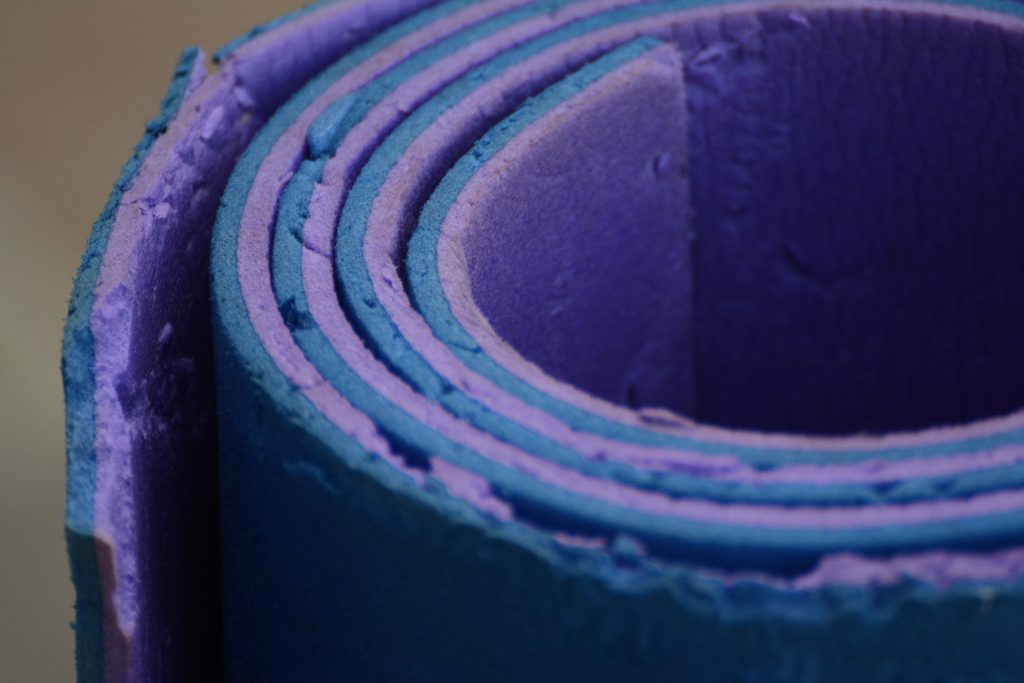 Close up of indoor exercise bike mat