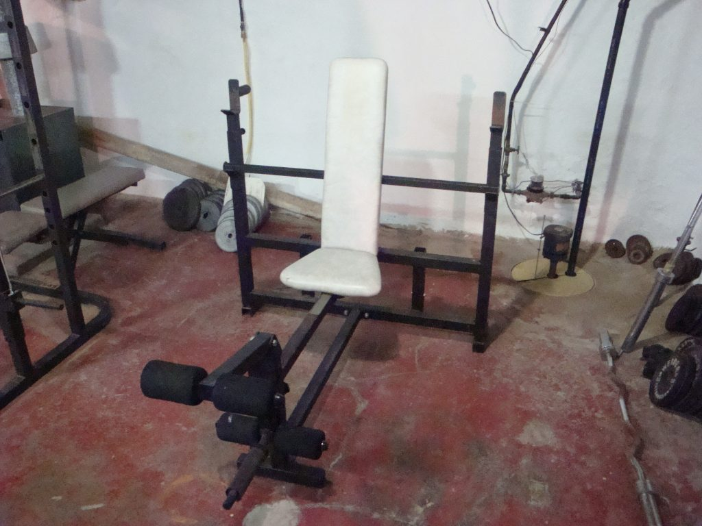 Workout bench in garage