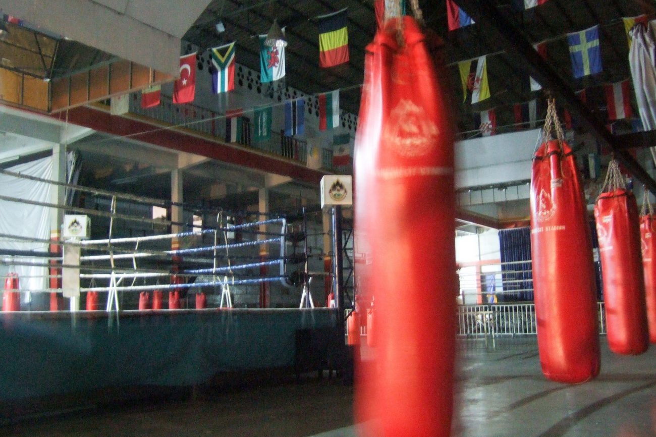 Heavy bags in boxing gym